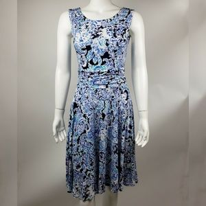 CYNTHIA ROWLEY Blue White Dress Small
